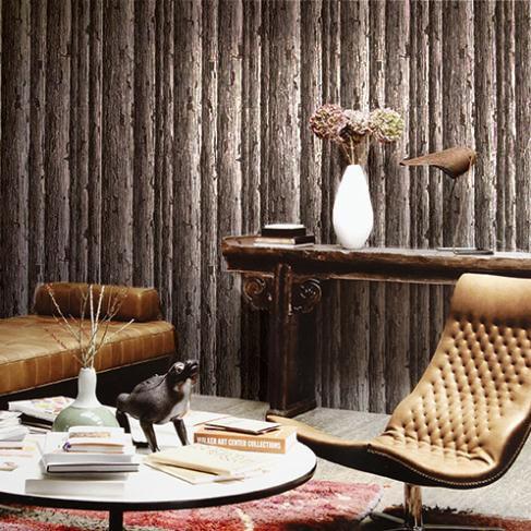 Vintage Wallpapers Coffeeshop Restaurant Vinyl Logs Behang 3D ...