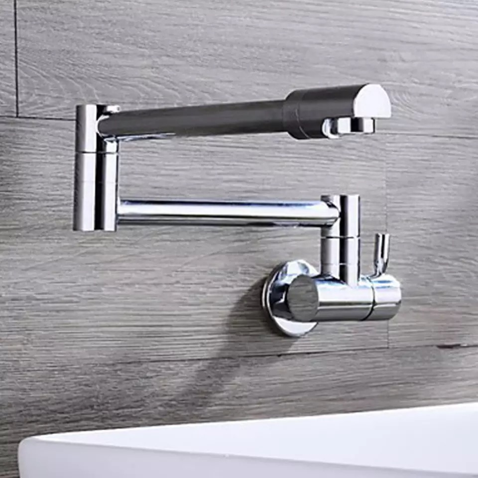 Kitchen Faucets Chrome Brass Wall Mounted Fold-able Single Handle/Hole 360 Degree Rotate Bathroom Basin Faucet Single Cold Taps