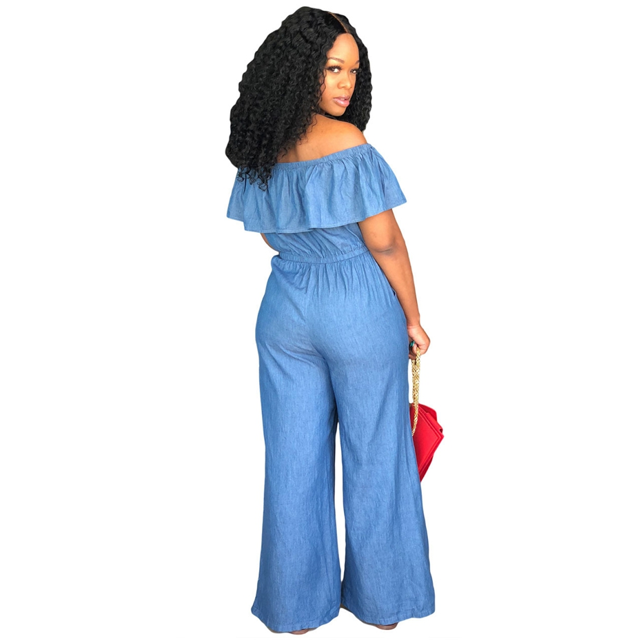22f314d79a6c HAOYUAN Sexy Denim Jumpsuit 2018 Streetwear Off Shoulder Jean Overalls One  Piece Backless Casual Loose Rompers Womens Jumpsuit-in Jumpsuits from  Women s ...