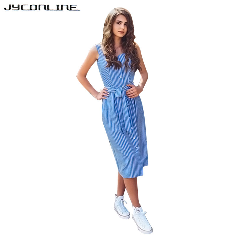 JYConline Sleeveless Blue Striped Dress Summer Tank Dresses Women Party Dresses Single-Breasted Elegant Shirt Dress With Sashes
