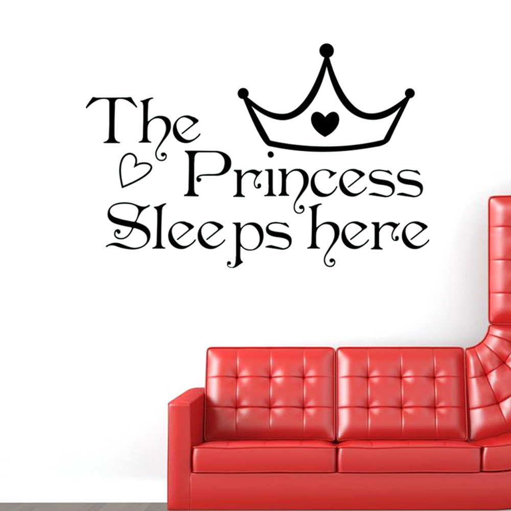 Online get cheap sleeping room furniture aliexpress alibaba the princess sleeps here style removable life waterproof home wall window girls room sticker decoration decals amipublicfo Image collections
