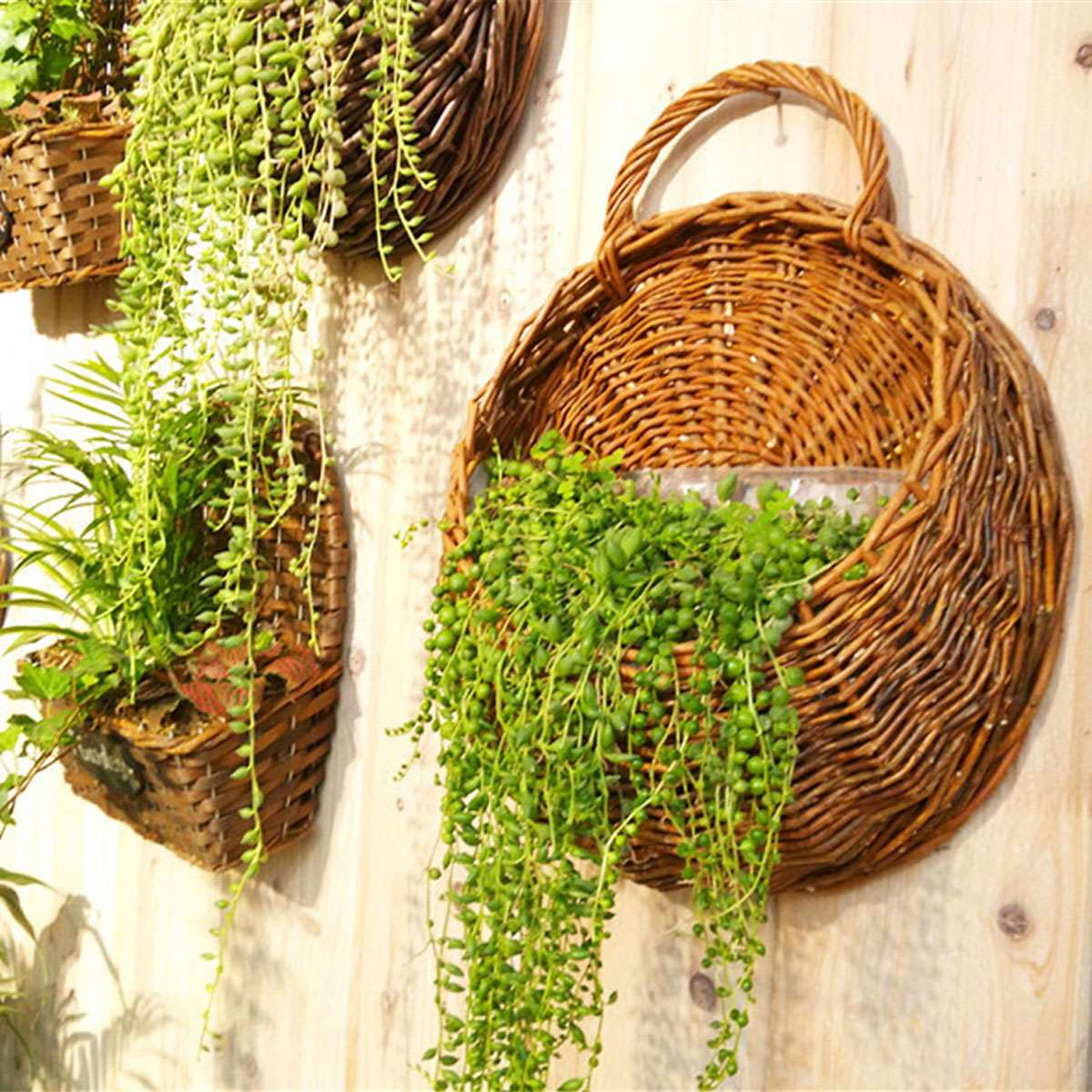 Hanging Baskets Garden Pots & Planters Handmade Flower Basket Modern Design Artificial Rattan Wall Hanging Small Artificial Rattan Flower Basket For Home Decoration Last Style