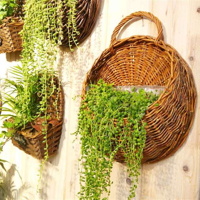 Wall Rattan Flower Baskets Decor Hanging Pot For Garden Artificial Plants Home Decoration Novelty Household