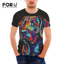FORUDESIGNS Colorful Labrador Printed T Shirt Men Fashion O-neck Short Sleeve Fitness Cloth for Males Slim Summer Tee Tops