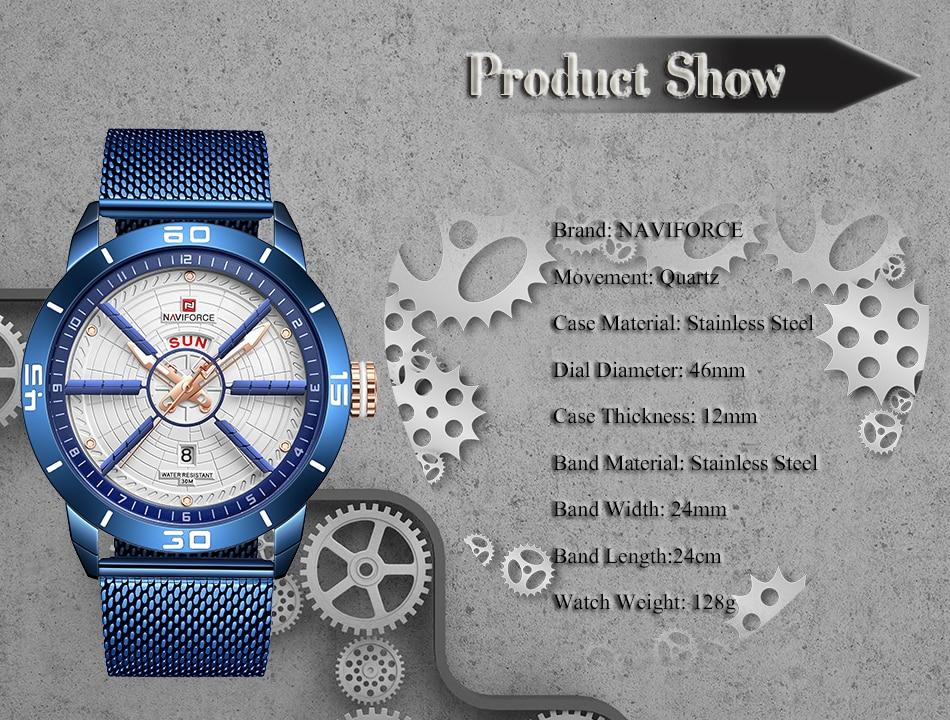NAVIFORCE Mens Watches Top Brand Luxury Quartz Watch Men Full Steel Men Watch Sport Fashion Business Watches Relogio Masculino 15