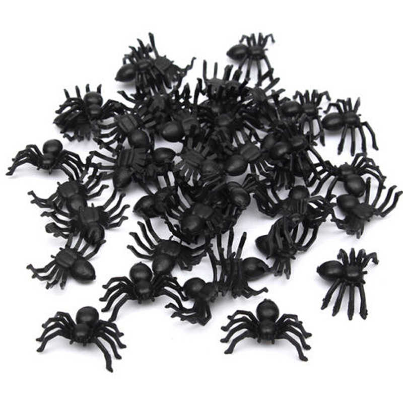 50 Pcs Useful Plastic Black Spider Halloween Decoration Festival Supplies Funny Prank Toys Decoration Realistic Prop Hot Sale