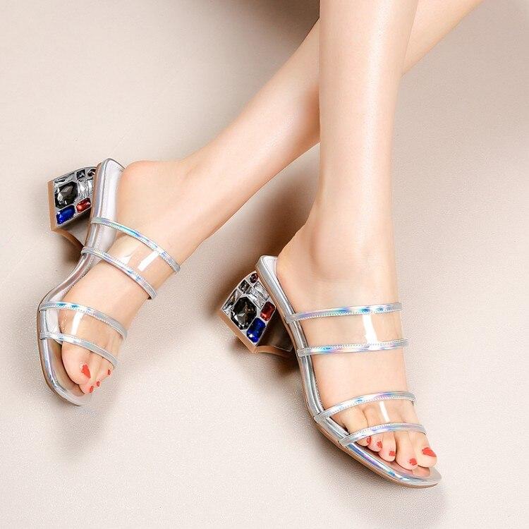 Silver Zorssar Mujer Flip Grueso Sexy Moda Fiesta Flops Zapatos Alto Sandalias Zapatillas De Verano Imitación Diamantes Cristal Tacón RFATrqR