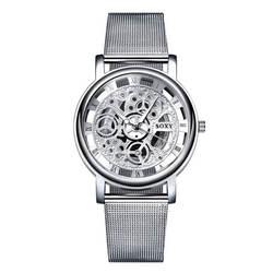 Модные бизнес Скелет часы для мужчин гравировка полые платье кварцевые наручные нержавеющая сталь Группа Relojes Mujer Прямая поставка