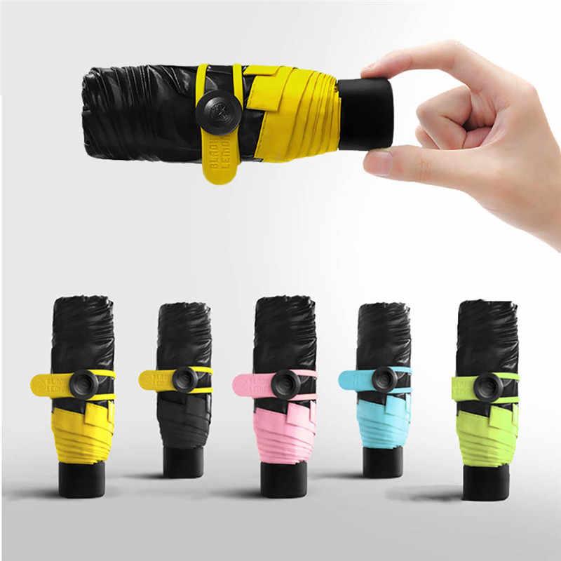 Colorful Mini Saku Payung Busana Hujan Meliputi Kompak Lipat Parasol Perjalanan Cahaya Portabel Kecil