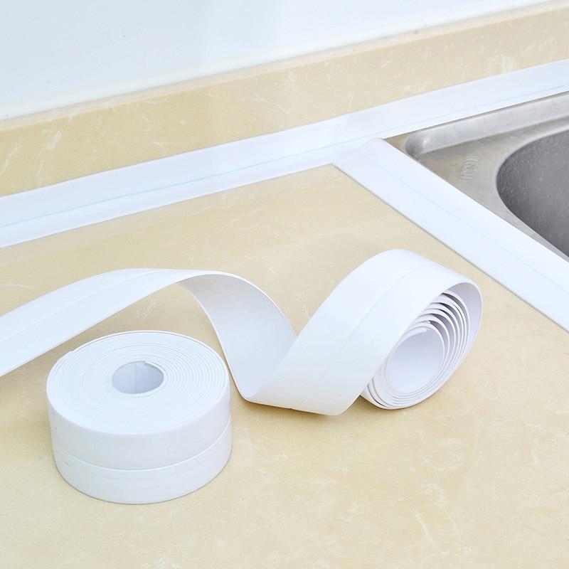 Bath Wall Sealing Strip Self-Adhesive Kitchen Caulk Tape Bathroom Decor 2.5M