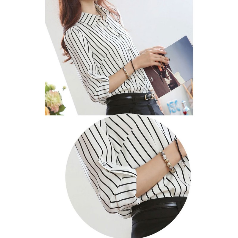 HTB1DYhQrFkoBKNjSZFkq6z4tFXaq - Women Striped Long Sleeve Shirt Turn-Down Collar Loose Blusas Femme Autumn Fall Casual Tops Sexy Tee Plus Size