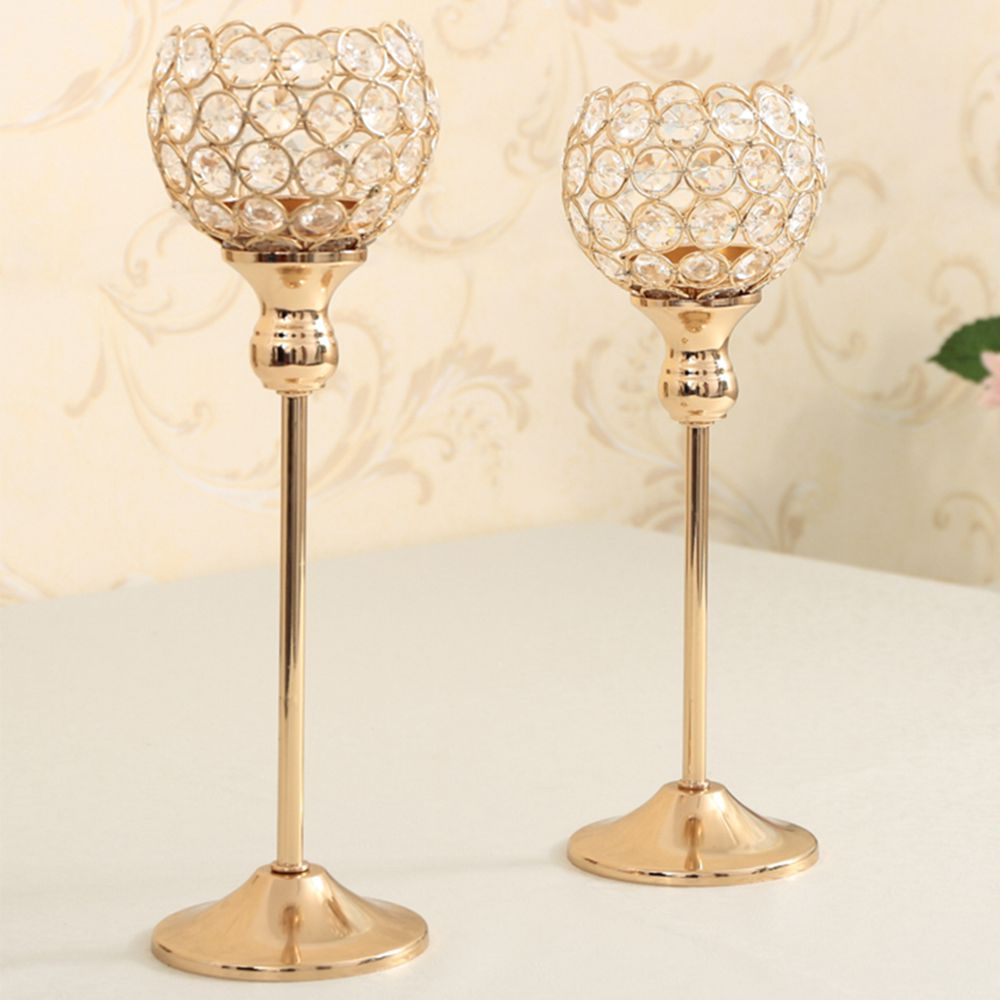 Crystal Candle Holder Metal Silver Candlestick Lantern Votice Candle ...