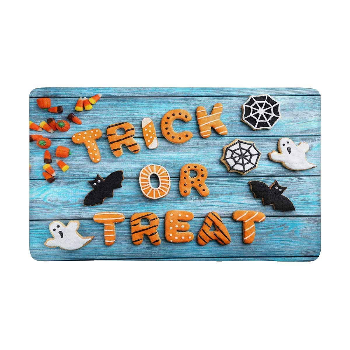 Funny Halloween Gingerbread Cookies On Blue Wooden Printed