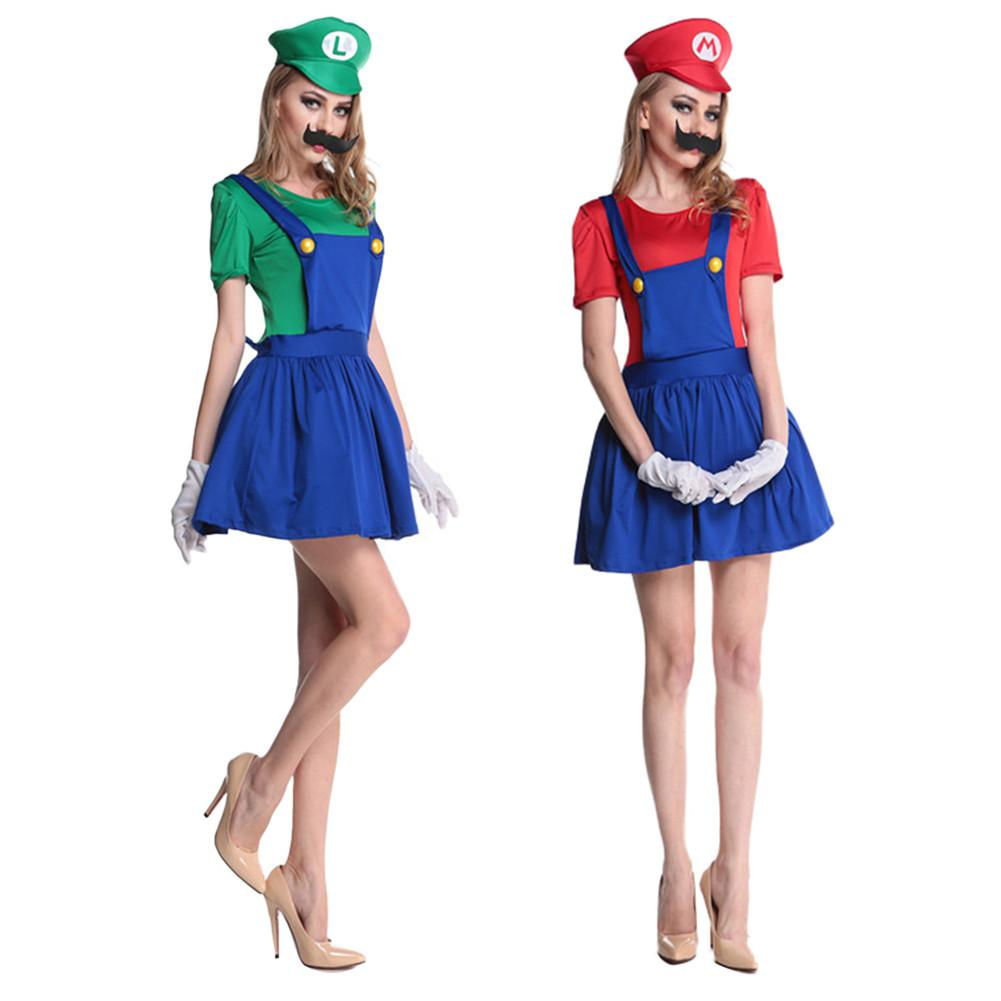 Halloween Mens One Size Zombie Mario Plumber Fancy Dress Costume Party Comic