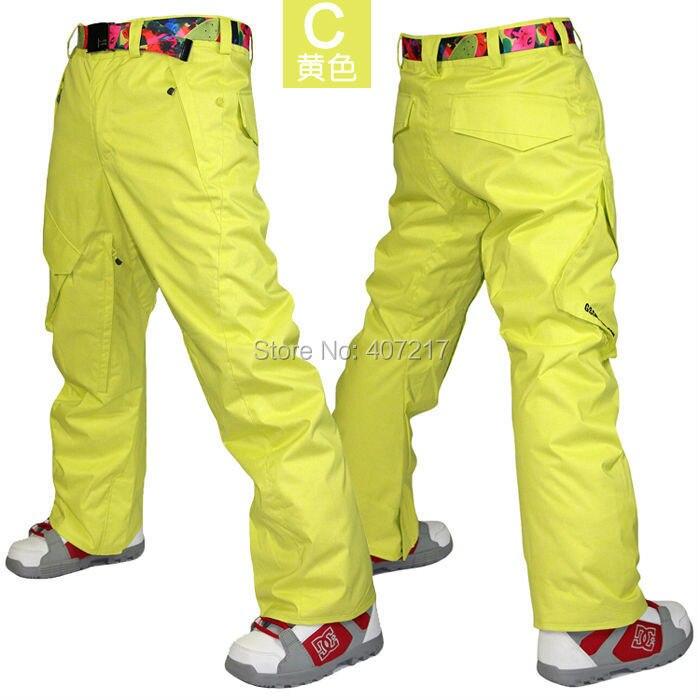 2017 mens yellow skiing pants blue ski snowboarding pants for men gray snow pants orange waterproof 10K windproof free ship