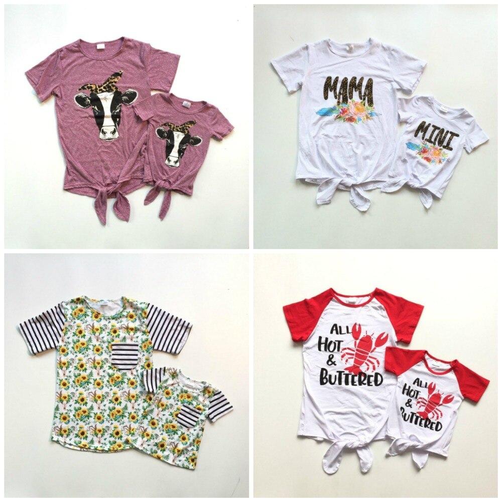 Летняя футболка с галстуком бабочкой для маленьких девочек детская одежда
