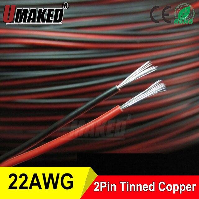 Verzinnt kupfer 22AWG, 2 pin Rot Schwarz kabel, pvc isolierte draht ...