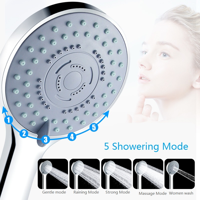 5Position Water Saving Shower Head Five Mode Showering Water Pressure Boost Shower Head Relax Shower Head High Pressure