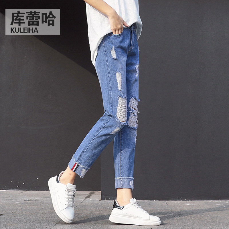 2017 New Women Summer Pants Casual Trousers For Ladies Blue Ripped Mid Waist Drawstring Skinny Denim Calf Length Jeans подвесной унитаз ifo grandy rp213100200