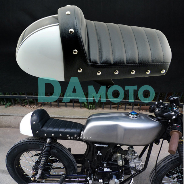 White Retro Cafe Racer Seat 1970 Z50 SERIES Motocycle Modified SEAT CAFE RACER HUMP METAL STUD
