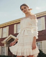 new summer /spring one piece women white dress lace holiday slash neck hot sale