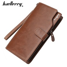 2019 Baellerry Men Wallets Card Holder Cover Fashion Casual Leather Long Design Quality Passport Zipper Multi-function Purse
