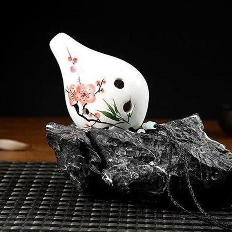 Ocarina 6 Holes Flower Pattern Ceramic AC Key Musical Instrument For Beginner FH99
