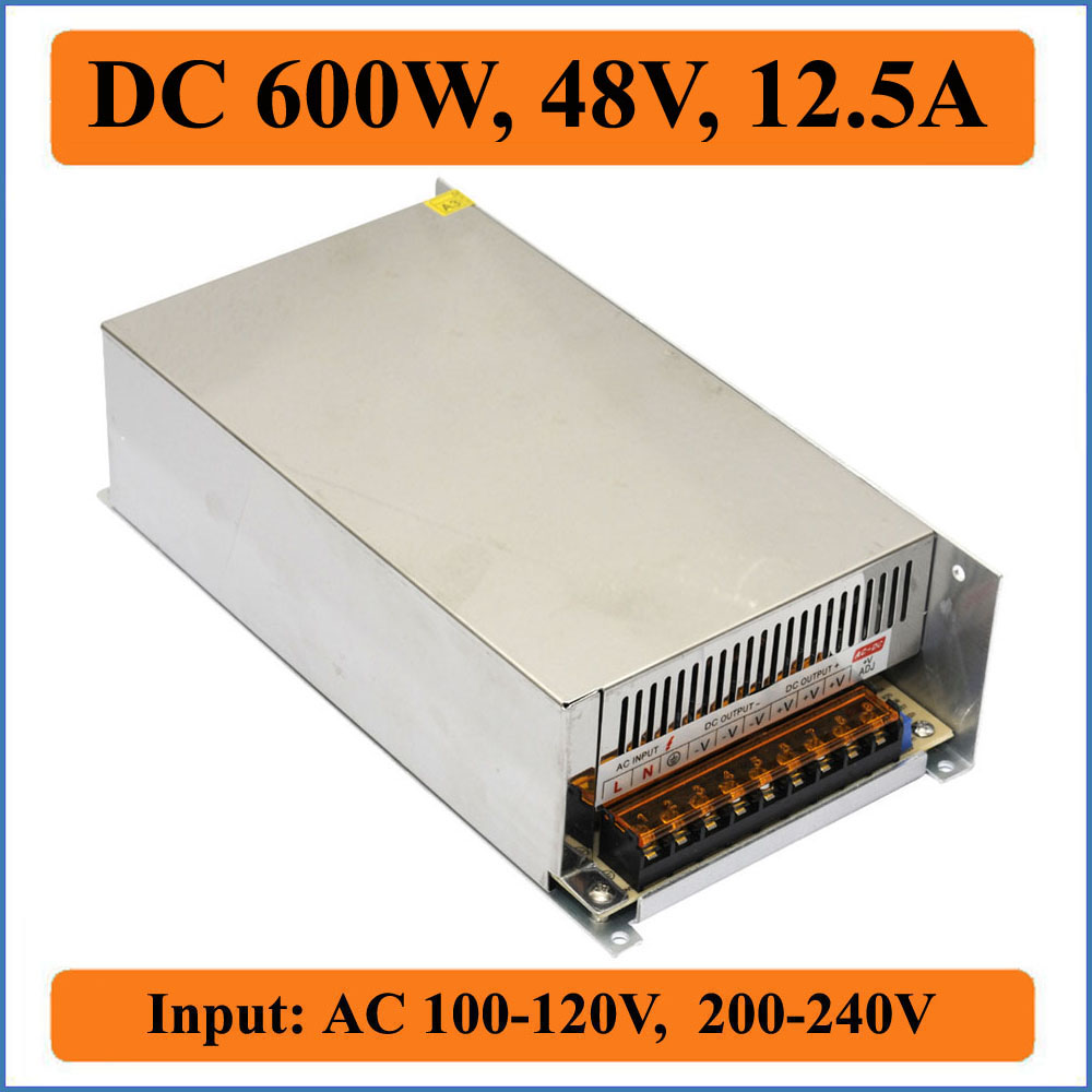600W 48V 12.5A Switching Power Supply triple Input AC100-240V to output DC 48V for LED driver Strip Light Voltage Transformers single output dc 24v 25a 600w switching power supply for led light strip 110v 240v ac to dc24v smps with cnc electrical equipmen