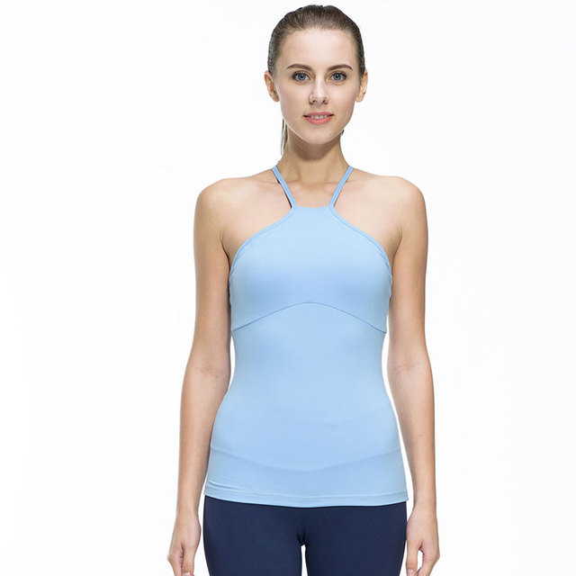 Fitness Women Sleeveless Shirts Jogging Gym Sports Running Tight Yoga Vest Breathable Quick Dry Spandex Pad Tank Top