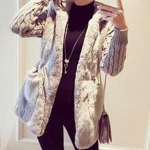 Autumn Winter 2016 Coat Women Long Sleeve Hooded Faux Fur Outerwear Female Double Pockets Knitted Elastic Waist Long Coats
