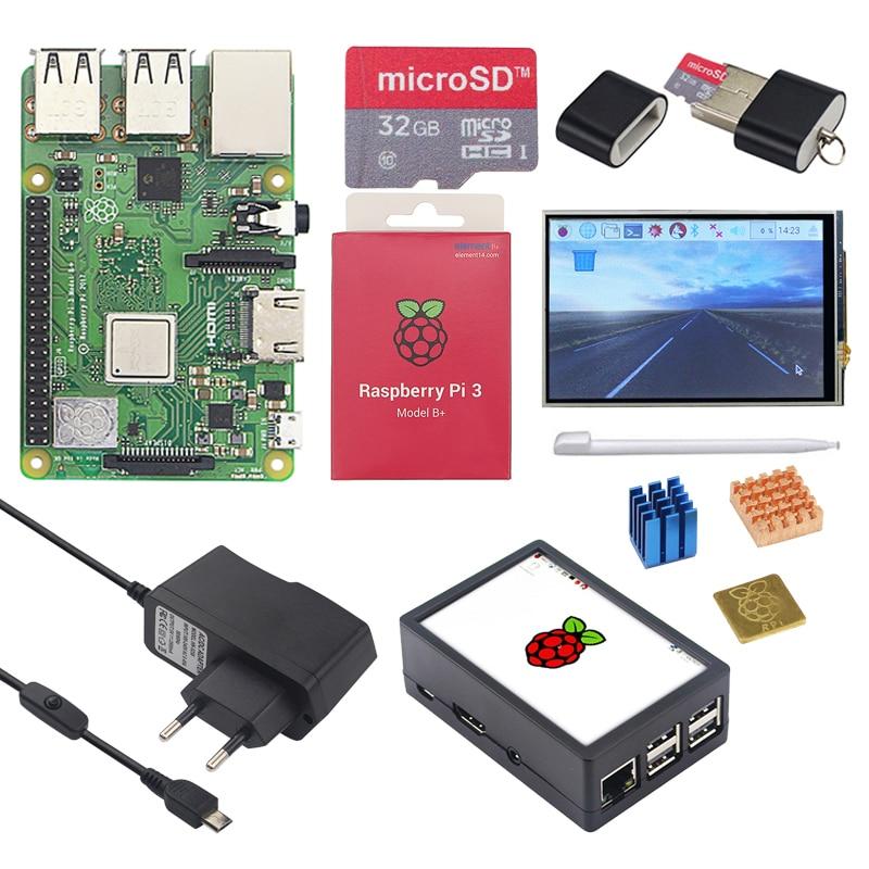 Original Raspberry Pi 3 Modell B + (Plus) board + 3,5 inch Touchscreen + Power Adapter 1,4 GHz quad-core 64 bit Prozessor WiFi & Bluetooth