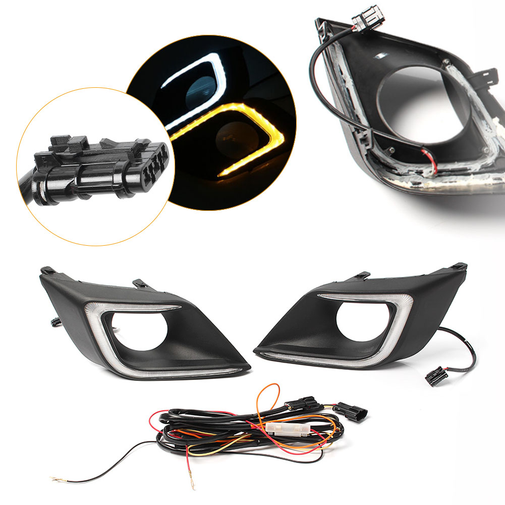 цены LED Daytime Running Fog Light Driving Lamp DRL w/ Signal For Nissan Murano 2015 2016 2017 1Pair