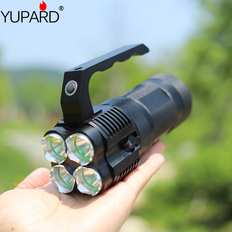 Купить с кэшбэком yupard high bright portable light lantern 4*XM-L T6 LED flashlight spotlight 18650 rechargeable battery torch searchlight