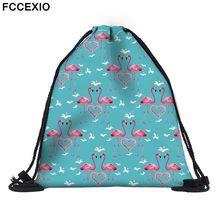 FCCEXIO New Fashion Women PINK Flamingo Backpack 3D Printed Travel Soft back Drawstring Bag School Feminina Girls Backpacks 01(China)
