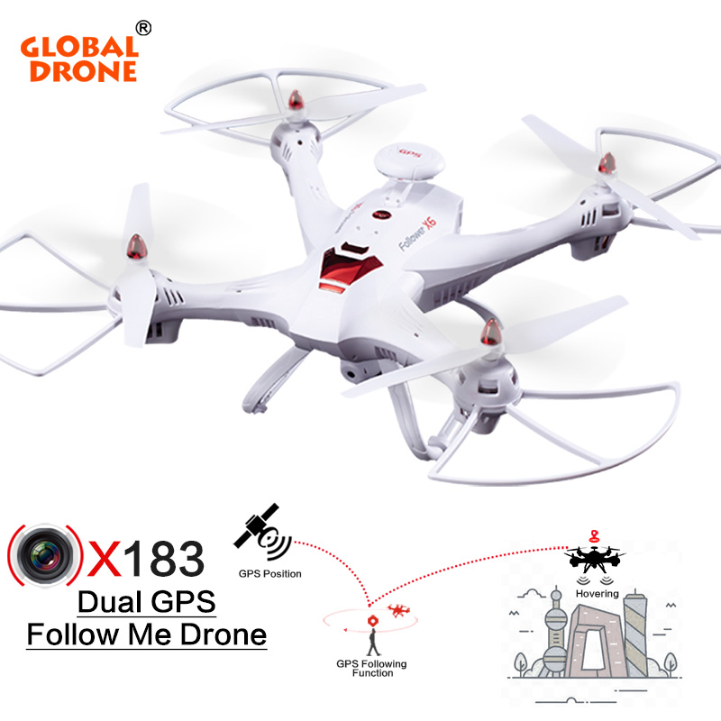 купить Global Drone X183 RC Helicopter DUAL GPS Dron Hover drones FPV Follow Me Quadcopter with 5.8G 1080P HD Camera RC Drone VS H501S по цене 7834.12 рублей