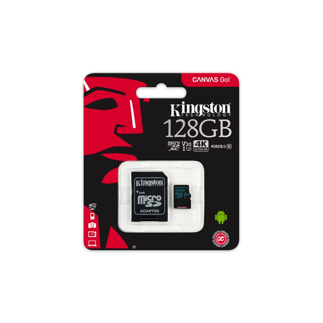 Kingston Technology 128 GB, MicroSDXC, Class 10, UHS I, 90 MB/s, Black