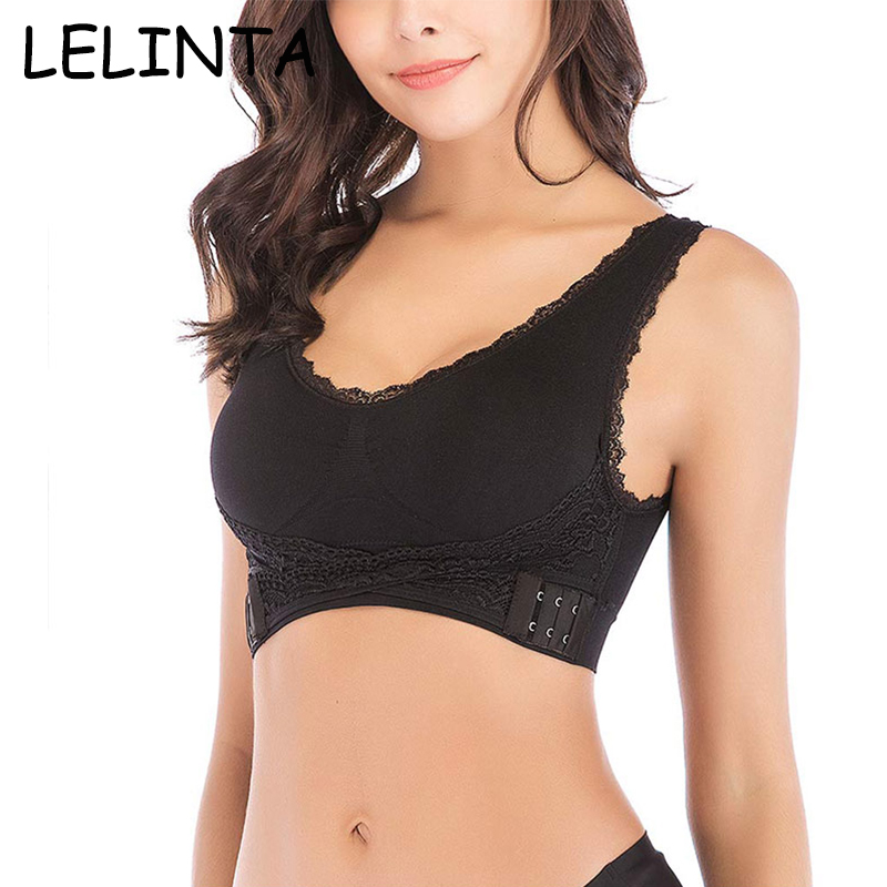 Seamless Magic Wireless Lift Bra Front Cross Side Buckle Lace Breathable 4XL New