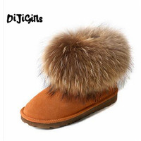 2016 Luxury Winter Women Natural Fox Fur Snow Boots Female Genuine Leather Boots Thick Fur Flat