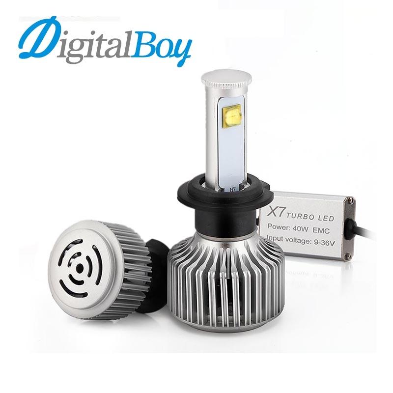 ФОТО Digitalboy Car LED Headlight H7 Bulb 80W Headlamp 7200LM 6000K Bulbs Car LED Conversion Kit Super Bright Automobile Front Light