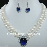 Free Shipping>>>white freshwater pearl necklace blue Heart Crystal earring set #@