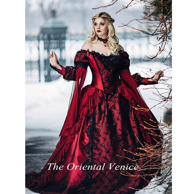Gothic Black Lace Wedding Dress Long Ball Gown Bridal Gown: Gothic Sleeping Beauty Princess Medieval Red And Black