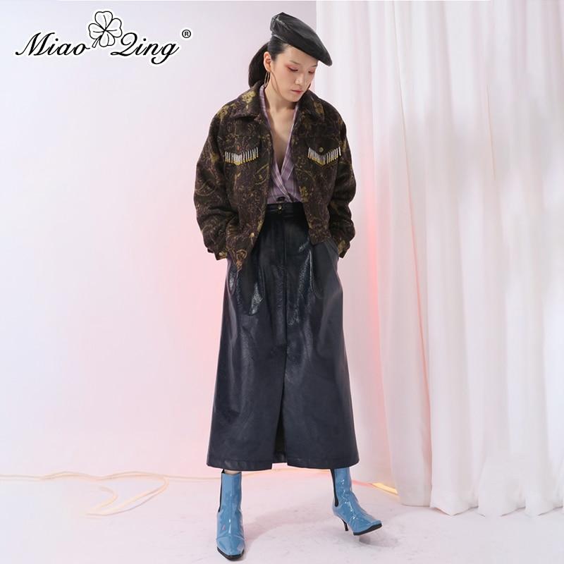 Miaoqing Ropa Para Mujer 2019 Split Streetwear Azul Midi Harajuku Pu De La Primavera Faldas Cuero Falda Largo Oscuro Casual Moda r4rw0Cx