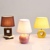 New Pastoral Fashion Ceramic Fabric Led E27 Table Lamp For Living Room Bedroom Study Deco H 31cm 1629