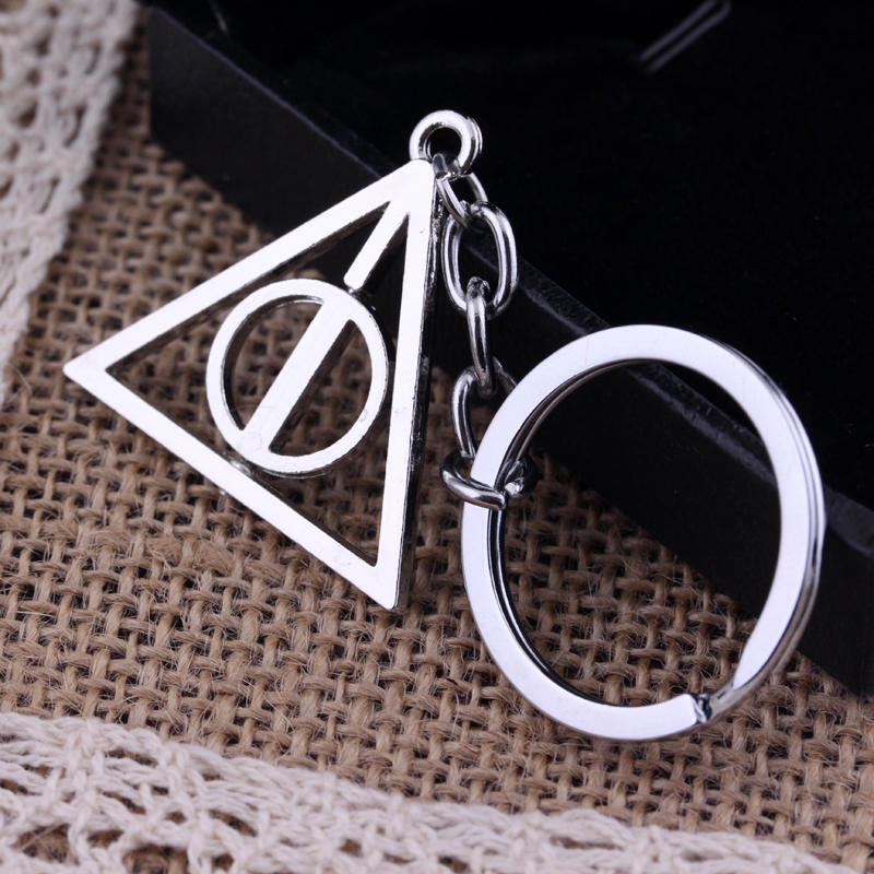Retro Movie Jewelry Potter Deathly Hallows Rotated Triangle Keychain Unisex Car Key Holder Keyrings