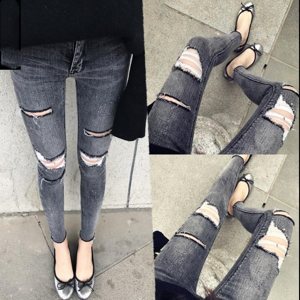 2019 spring fashion Smoke gray hole   jeans   women high waist skinny elastic pencil   jeans   plus size 25-30