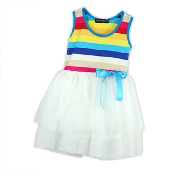 Fashion 2-6Y Toddler Baby Girls Sleeveless Vest Sundress Rainbow Cotton Tutu Dress fashion women s sleeveless hooded shiny cotton vest red l