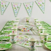 O dinossauro dino festa suprimentos para crianças festa de aniversário 114 pçs/lote suprimentos de festa de pano de mesa copos garfos guardanapos