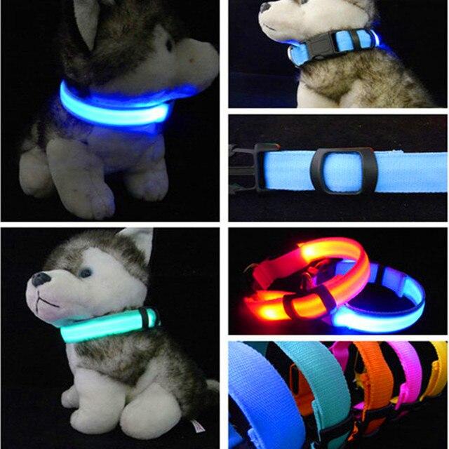 Collar de Perro de Nylon Para Mascotas LED Nocturna de Seguridad LED Parpadeante Resplandor LED alimentos para Mascotas Accesorios Para Perros Pequeños Pet Cat Collares de Perro Arnés