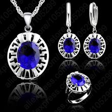High Quality Blue CZ Crystal Wedding Necklace &Earring &Ring 3 Set Real 925 Sterling Silver Pendant Jewlery Set Gift Wholesale(China)