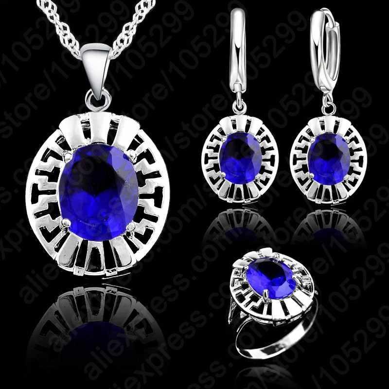 Hohe Qualität Blau CZ Kristall Hochzeit Halskette & Ohrring & Ring 3 Set Echt 925 Sterling Silber Anhänger Jewlery Set geschenk Großhandel
